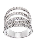 14K WHITE GOLD VERMEIL-5 Row Pave Open Scoop Stack Dome CZ Knuckle Ring-... - $89.00