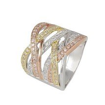 PAVE TRI-COLOR CROSSOVER ETERNITY CUBIC ZIRCONIA RING BRIDAL - $49.99