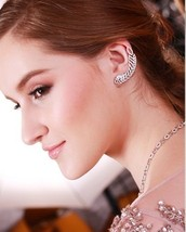 Glitzy Pave+Prong Set Leaf Cuff Cubic Zirconia Earrings Sterling Silver - $79.19