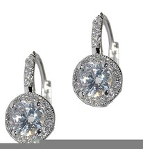 PAVE+OVAL HALO CUBIC ZIRCONIA CZ LEVER BACK EARRING -BRIDAL - $24.74