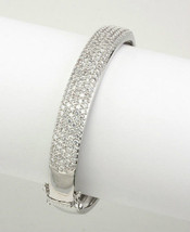 New Wide Pave Dome Cubic Zirconia Bangle Bracelet Bridal - $127.71