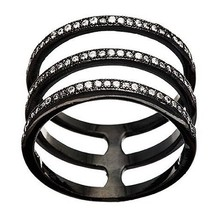 NEW 14K BLACK GOLD VERMEIL-Open 3 Row Stack CZ Knuckle Ring-Bridal-Band-925 - $39.99