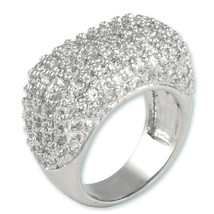 GLITZY 4CTW PAVE WIDE & HIGH DOME 3 SIDED  CLEAR  CUBIC ZIRCONIA BAND RING - $59.99