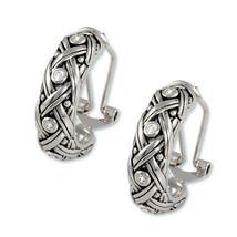 Antique Rhodium  Bezel Set Clear Cubic Zirconia Hoop Omega French Back Earrings - $28.71