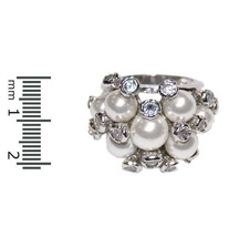 THE LOOK OF REAL CLUSTER CREAM PEARL& BEZEL CUBIC ZIRCONIA RING BRIDAL - $24.00