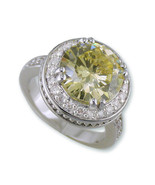7.5CT CANARY & PAVE CLEAR CUBIC ZIRCONIA HALO FANCY WEDDING RING - $38.61
