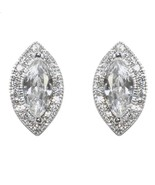 MARQUISE CUT HALO CUBIC ZIRCONIA RHODIUM STUD EARRINGS 17MM OF BLING - $28.71