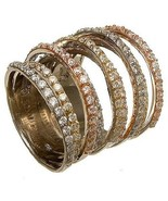 NEW 14K TRI-COLOR GOLD VERMEIL Pave 9 Row CZ Knuckle Ring-Bridal-Band-925 - $169.99