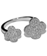 GLITZY PAVE CLEAR CUBIC ZIRCONIA DOUBLE CLOVER ADJUSTABLE RING BRIDAL - $29.00