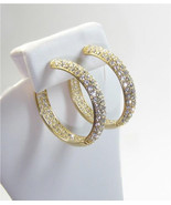 14K YELLOW GOLD VERMEIL PAVE INSIDEOUT DOME CUBIC ZIRCONIA  HOOP EARRING... - $157.41