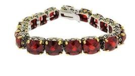 Antique  2 Tone Red Garnet Cushion Cubic Zirconia Tennis Bracelet 15 Mm Stones - $89.09