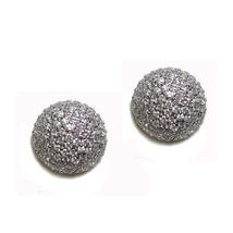 Micro Pave Half Ball Cubic Zirconia Rhodium Stud Earrings 15 Mm 8 Mm High Bling - $38.61
