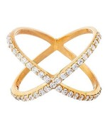 NEW 14K YELLOW GOLD VERMEIL Pave Long Open X CZ Ring-Bridal-Band-925 - $49.99