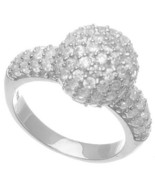 NEW  14K WHITE GOLD VERMEIL Micro Pave Ball & Side Ring-Bridal 925 - $45.00
