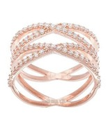 NEW 14K ROSE GOLD VERMEIL Pave Open Double X CZ Ring-Bridal-Band-925 - $59.99