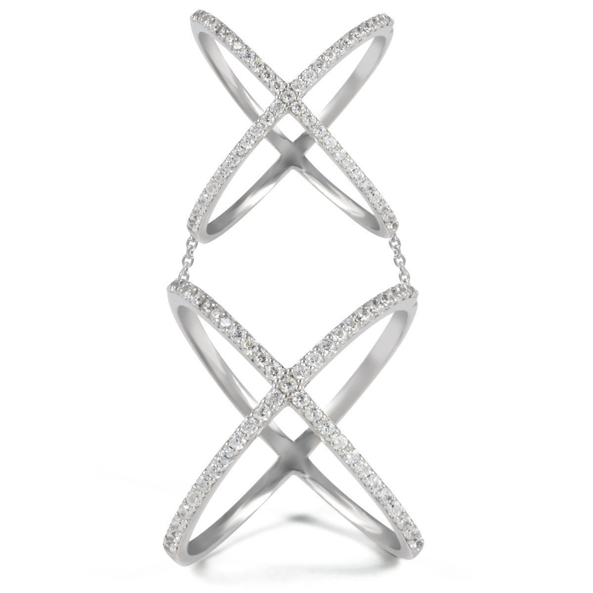 14K WHITE GOLD VERMEIL Pave Open Double X Chain Clear CZ Knuckle Ring-Band 925