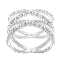 NEW 14K WHITE GOLD VERMEIL Pave Open Double X CZ Ring-Bridal-Band-925 - $59.99
