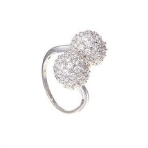 14K WHITE VERMEILMicro Pave CZ Clear Double Ball By-Pass Ring-Bridal 925 - $45.00