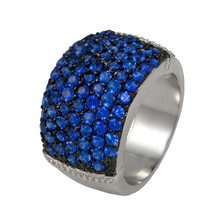 GLITZY PAVE BLUE SAPPHIRE SPINEL 14MM WIDE CUBIC ZIRCONIA BAND RING BRIDAL - $39.99