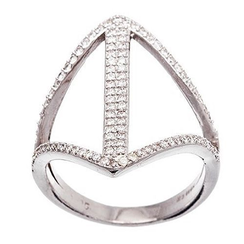 Primary image for NEW 14K WHITE GOLD VERMEIL-Open Diamon Shape Stack CZ Knuckle Ring-Band-925