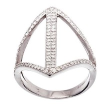 NEW 14K WHITE GOLD VERMEIL-Open Diamon Shape Stack CZ Knuckle Ring-Band-925 - $39.00