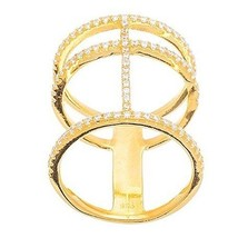 New 14 K Yellow Gold Vermeil Open Stack Look Cz Knuckle Ring Bridal Band 925 - $49.99