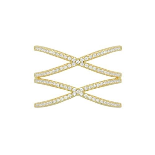 NEW 14K YELLOW GOLD VERMEIL Pave Open Double X CZ Ring-Bridal-Band-925