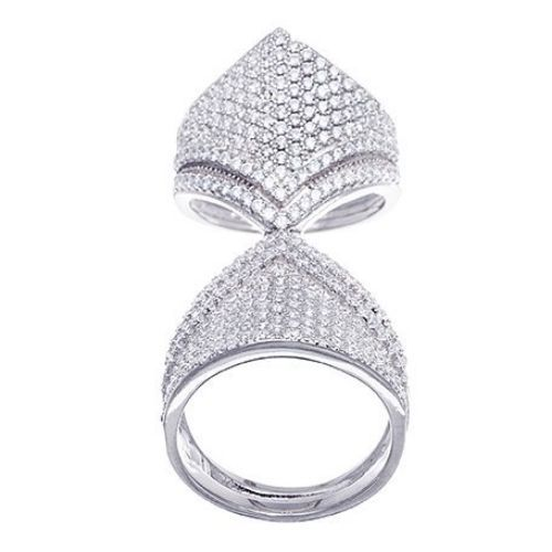 Primary image for 14K WHITE GOLD VERMEIL Double  Pave Flexable CZ Knuckle Ring-Bridal-Band-925