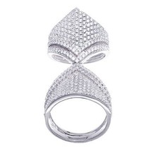 14K WHITE GOLD VERMEIL Double  Pave Flexable CZ Knuckle Ring-Bridal-Band... - $119.99