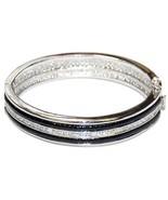 All Around Black Fancy Enamel & Channel Set Clear  Rhodium Bangle Bracelet - $39.60