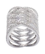 NEW 14K WHITE GOLD VERMEIL Open Wide Crossing Style Knuckle CZ Ring-Brid... - $79.99