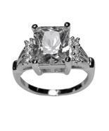 4CTW CLEAR RADIANT EMERALD SOLITAIRE WITH ROUND CUBIC ZIRCONIA ENGAGEMEN... - $19.99