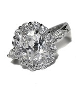 PAVE & 4CTW OVAL HALO CUBIC ZIRCONIA WEDDING RING HIGH QUALITY BRIDAL - $29.99