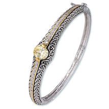 Antique 2 Tone Weave Design Yellow Canary & Clear Oval CZ Bangle Bracelet - $59.39