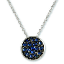NEW Dainty Weave Design Pave Sapphire CZ On Black Rhodium Circle Necklace - $24.74
