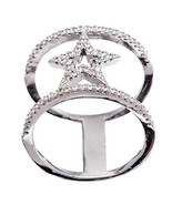 14K WHITE GOLD VERMEIL Pave Open Clear CZ Star Knuckle Band Ring-925 - $49.00