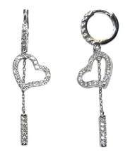 Micro Pave Heart & Bar Cubic Zirconia Hoop Dangle  Earrings 45 Mm  Bridal - $29.69