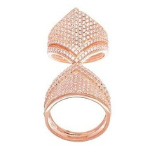 14K ROSE GOLD VERMEIL Double  Pave Flexable CZ Knuckle Ring-Bridal-Band-925 - $119.99