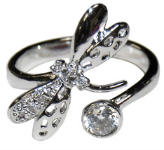 THE LOOK OF REAL PAVE & BEZEL SET CLEAR CZ DRAGON FLY ADJUSTABLE RING-BR... - $19.79