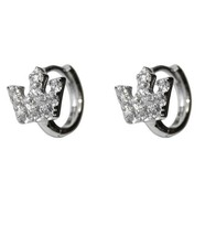 DAINTY-BABIES-CHILDRENS  CLEAR CZ CROWN HUGGIE HOOP EARRING-BRIDAL-10mm - $17.82