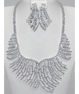 "AMAZING CUBIC ZIRCONIA BRIDAL-CLUSTER STRAND NECKLACE & EARRING SET-18"" - $454.41"