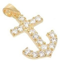Dainty Pave Yellow Gold Vermeil Anchor Cubic Zirconia Pendant 925/Ss - $19.79