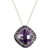 PAVE+CUSHION CUT AMETHYST CUBIC ZIRCONIA RHODIUM NECKLACE-16 TO 18 INCHES - $45.54