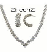 CLUSTER V  CUBIC ZIRCONIA-EVENING-WEDDING EARRING NECKLACE TENNIS  SET - $197.99