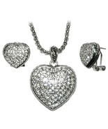 THE LOOK OF REAL  PAVE CABLE STYLE HEART RHODIUM NECKLACE&EARRING SET -B... - $39.59