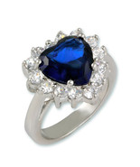 6CTW BLUE SAPPHIRE+CLEAR HEART CUBIC ZIRCONIA HALO RING-LARGE STONES - $28.00