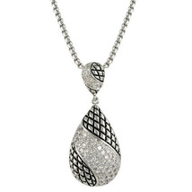 NEW  MICRO PAVE ANTIQUE TEAR DROP PENDANT NECKLACE-BRIDAL - $39.59