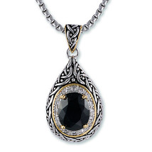 Antique 2 Tone Weave Design Tear Drop Black & Clear CZ pendant Necklace - $39.59
