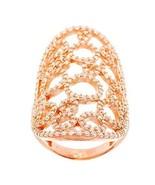 14K ROSE GOLD VERMEIL Pave Open Lace Style Circle CZ Knuckle Ring-Band 925 - $99.00