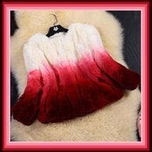 Gradient Color Fade Long Sleeve Soft Genuine Rex Rabbit Fur Coat Jacket image 2